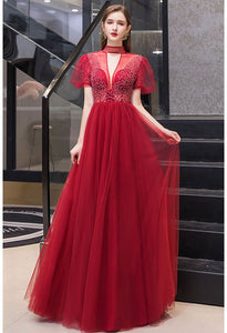 A-line Prom Dresses Glamorous High Neck - 7