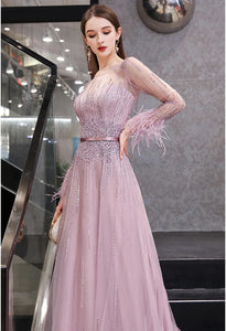 A-Line Prom Dresses Junoesque Rhinestones Embellished Feather Sleeves - 4