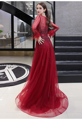 Image of A-Line Prom Dresses Junoesque Rhinestones Feather Sleeves - 3