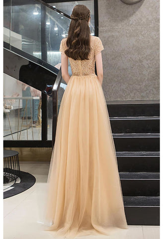 Image of A-Line Prom Dresses Luxury Beading Tops Scoop Neckline - 2