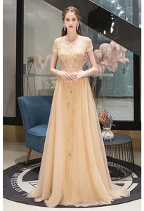 A-Line Prom Dresses Luxury Beading Tops Scoop Neckline - 3