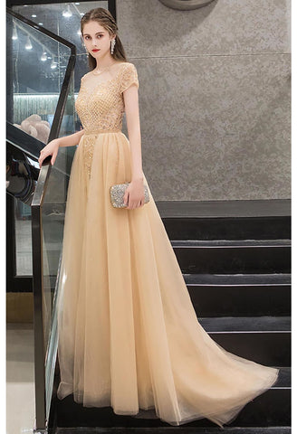Image of A-Line Prom Dresses Luxury Beading Tops Scoop Neckline - 6