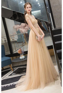 A-Line Prom Dresses Luxury Beading Tops Scoop Neckline - 1