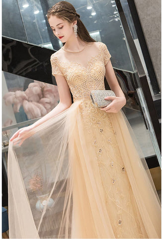 Image of A-Line Prom Dresses Luxury Beading Tops Scoop Neckline - 4