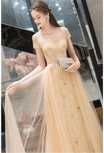 A-Line Prom Dresses Luxury Beading Tops Scoop Neckline - 4