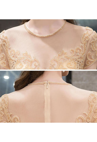 Image of A-Line Prom Dresses Luxury Beading Tops Scoop Neckline - 7