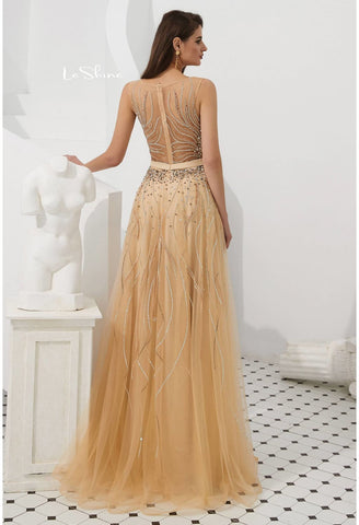 Image of A-Line Prom Dresses Stunning Sheer Neckline with Rhinestones Embellished Tulle - 2