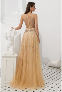 A-Line Prom Dresses Stunning Sheer Neckline with Rhinestones Embellished Tulle - 2