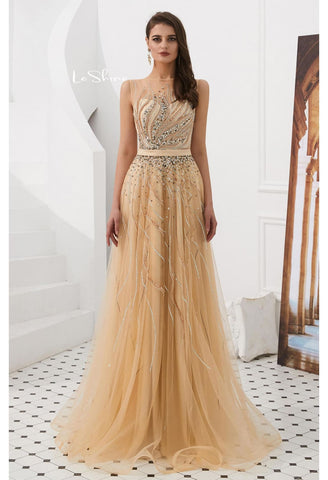 Image of A-Line Prom Dresses Stunning Sheer Neckline with Rhinestones Embellished Tulle - 4