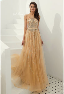 A-Line Prom Dresses Stunning Sheer Neckline with Rhinestones Embellished Tulle - 1