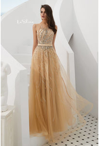 A-Line Prom Dresses Stunning Sheer Neckline with Rhinestones Embellished Tulle - 3