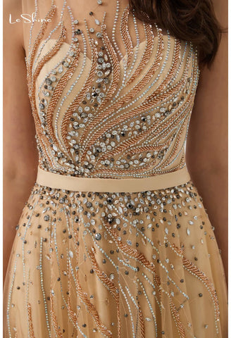 Image of A-Line Prom Dresses Stunning Sheer Neckline with Rhinestones Embellished Tulle - 5