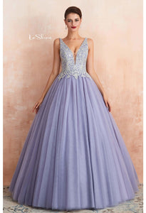 Ball Gown Prom Dresses V-Neck Rhinestone Embellished with Lavender Tulle - 4
