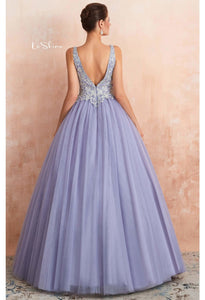 Ball Gown Prom Dresses V-Neck Rhinestone Embellished with Lavender Tulle - 2
