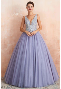 Ball Gown Prom Dresses V-Neck Rhinestone Embellished with Lavender Tulle - 5