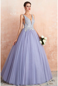 Ball Gown Prom Dresses V-Neck Rhinestone Embellished with Lavender Tulle - 1