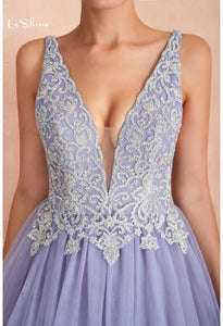 Ball Gown Prom Dresses V-Neck Rhinestone Embellished with Lavender Tulle - 3