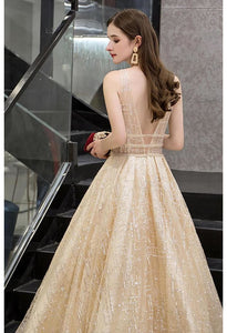 Ball Gown Prom Dresses V-Neck Transparent Waistband with Sequins Embellished - 5
