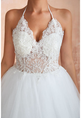 Image of Ball Gown Wedding Dresses Halter Neckline Backless with Lace Tulle - 3