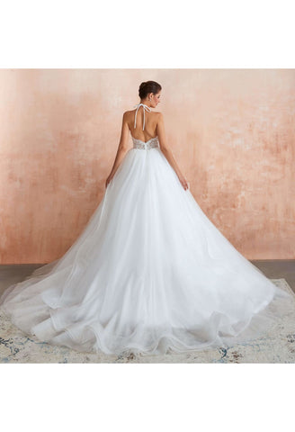 Image of Ball Gown Wedding Dresses Halter Neckline Backless with Lace Tulle - 2
