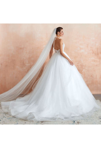 Image of Ball Gown Wedding Dresses Halter Neckline Backless with Lace Tulle - 4