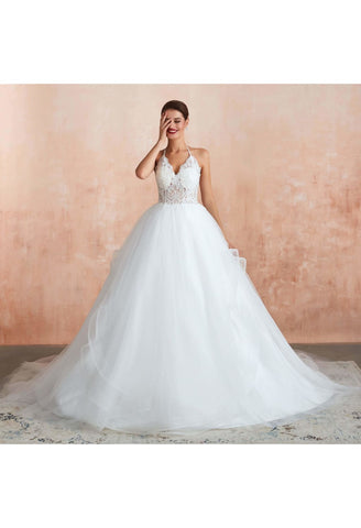 Image of Ball Gown Wedding Dresses Halter Neckline Backless with Lace Tulle - 1