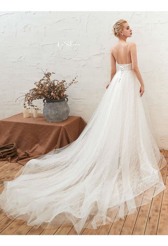 Image of Beach Bride Dresses Open Back Tailing - 4