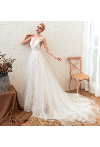 Image of Beach Bride Dresses Open Back Tailing - 1