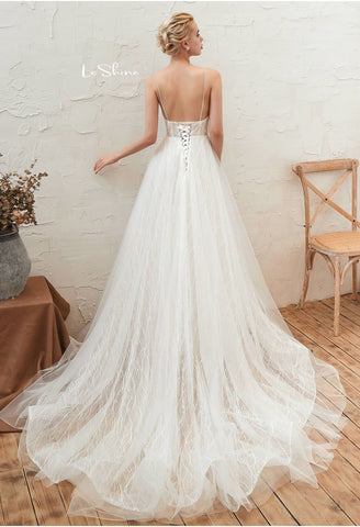 Image of Beach Bride Dresses Open Back Tailing - 2