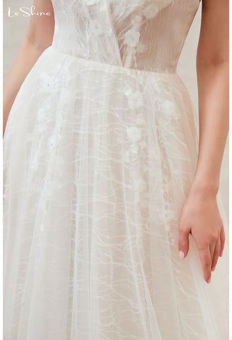 Image of Beach Bride Dresses Open Back Tailing - 5