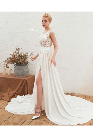 Image of Beach Bride Dresses Slit Hemline Sleeveless Satin Tailing - 4
