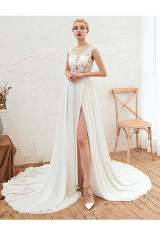 Image of Beach Bride Dresses Slit Hemline Sleeveless Satin Tailing - 1