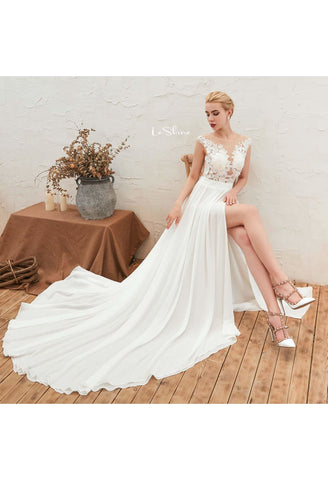 Image of Beach Bride Dresses Slit Hemline Sleeveless Satin Tailing - 3