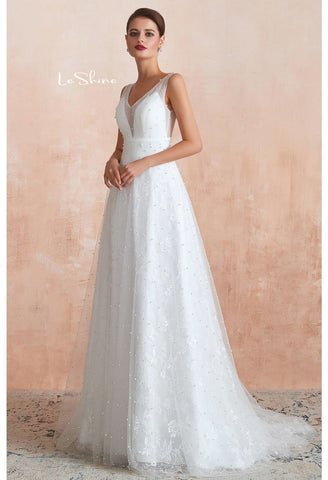 Image of Beach Bride Dresses V-Neck Sleeveless A-Line with Beaded Tulle - 5