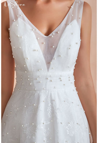 Image of Beach Bride Dresses V-Neck Sleeveless A-Line with Beaded Tulle - 4