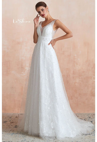 Image of Beach Bride Dresses V-Neck Sleeveless A-Line with Beaded Tulle - 1