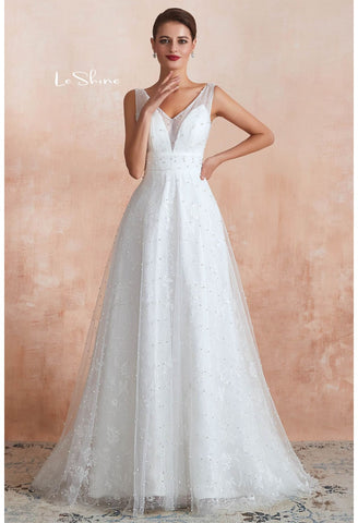 Image of Beach Bride Dresses V-Neck Sleeveless A-Line with Beaded Tulle - 3