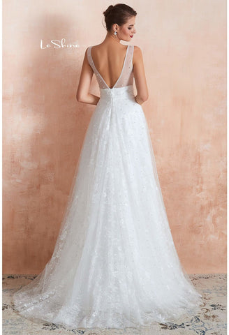 Image of Beach Bride Dresses V-Neck Sleeveless A-Line with Beaded Tulle - 2