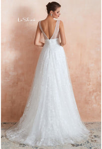 Beach Bride Dresses V-Neck Sleeveless A-Line with Beaded Tulle - 2