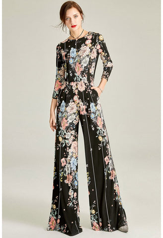 Image of Black Floral Print Jumpsuit Bateau Neck - 1