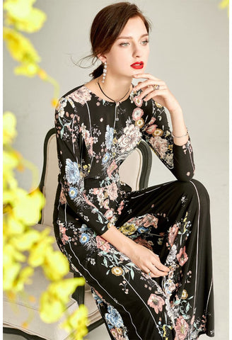Image of Black Floral Print Jumpsuit Bateau Neck - 4