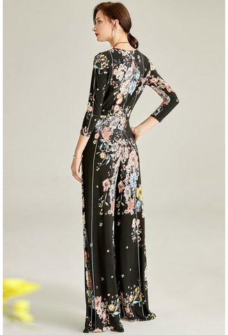 Image of Black Floral Print Jumpsuit Bateau Neck - 2