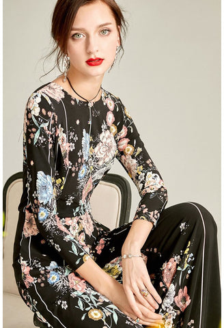 Image of Black Floral Print Jumpsuit Bateau Neck - 3