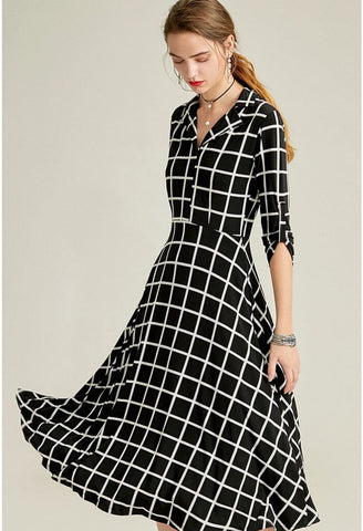 Image of Black Plaid Print Midi Dresses Half Sleeves - 2