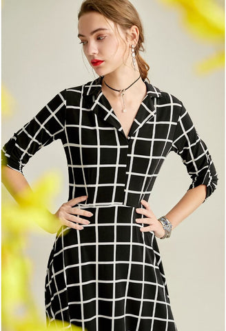 Image of Black Plaid Print Midi Dresses Half Sleeves - 5