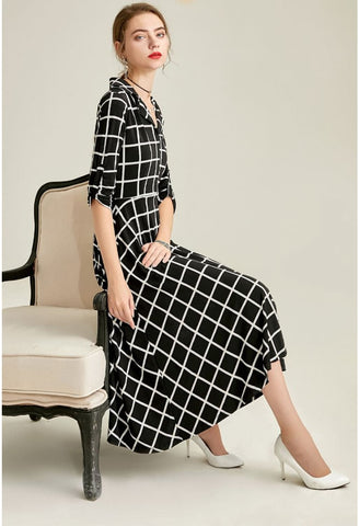 Image of Black Plaid Print Midi Dresses Half Sleeves - 4