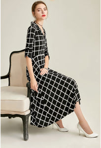 Black Plaid Print Midi Dresses Half Sleeves - 4