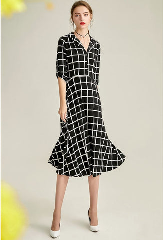 Image of Black Plaid Print Midi Dresses Half Sleeves - 3