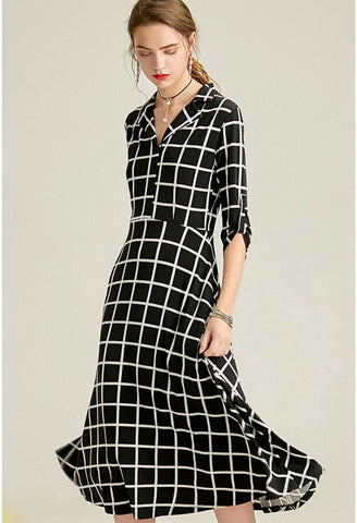 Image of Black Plaid Print Midi Dresses Half Sleeves - 1