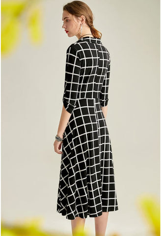 Image of Black Plaid Print Midi Dresses Half Sleeves - 6